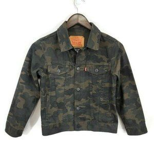 Levis Kids Camo Denim Jacket Size S Green Dark Collared Flap Pockets Fitted Fall